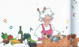 Oma zerhackt die Zutaten