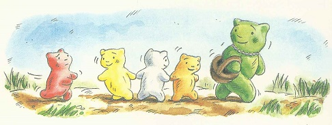 Gummibaerchenmama mit Gummibaerchenkindern