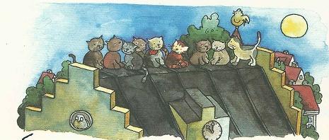 Katzen auf dem Rathausdach
