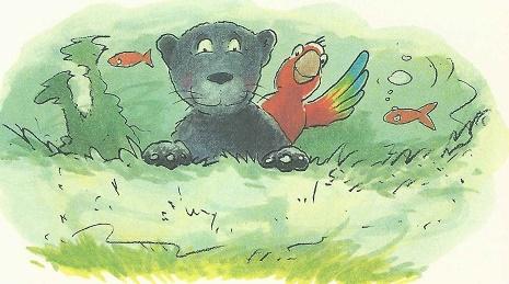 Im Wasser - ein Papagei auf der Schulter des Panthers