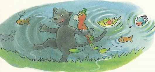 Der Panther im Wasser tanzt auch
