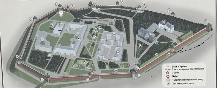 План Кремля. Проход между Пороховой и Георгиевской башнями (прорубленный)
