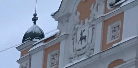Олень на здании